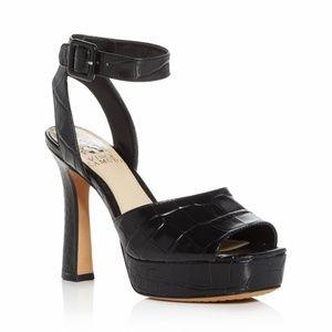 Kortinta Croc-Embossed Platform High-Heel Sandals